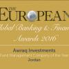 اوراق للاستثمار تحصل على جائزة افضل شركة استثماريه في الاردن للعام 2016
