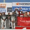 أودي تحصد المركزين الأول والثاني في افتتاحية دبي 24 ساعة عن فئة GT4 مع مركبتها Audi R8 LMS