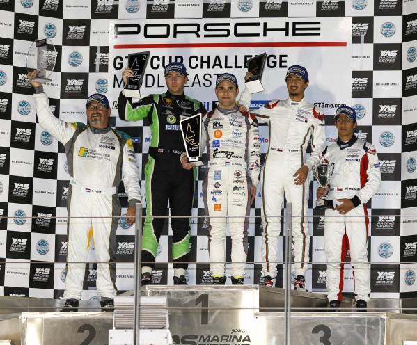 بيريرا يعتلي المنصة تاركاً المركز الثاني لأوليفانت والمركز الثالث للزُبير  السائق اللوكسمبورغي ينتزع الفوز بسباق الجولة الرابعة لتحدي كأس بورشه جي تي 3 الشرق الأوسط محققاً رقماً قياسياً