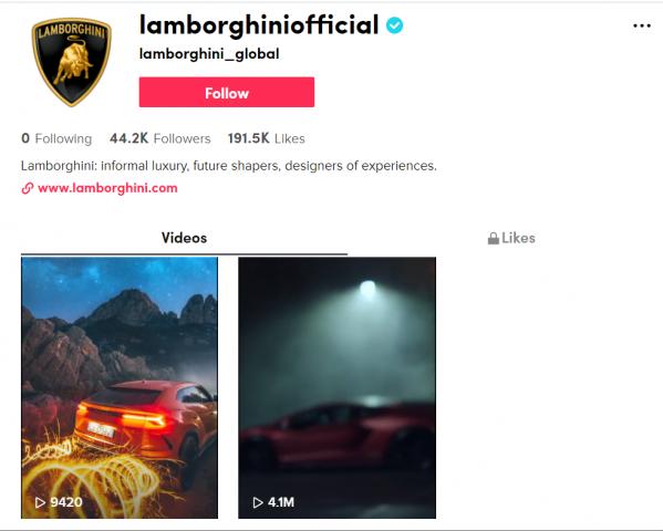 'أوتوموبيلي لامبورغيني' تنضم إلى 'تيك توك'…العلامة التجارية التي تحمل شعار 'الثور الهائج' هي أول مصنِّع للسيارات الرياضية الفائقة الفخمة التي تنضم إلى الشبكة الاجتماعية